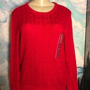 Merona Red Crew Knit Cable Knit Ribbed Sweater